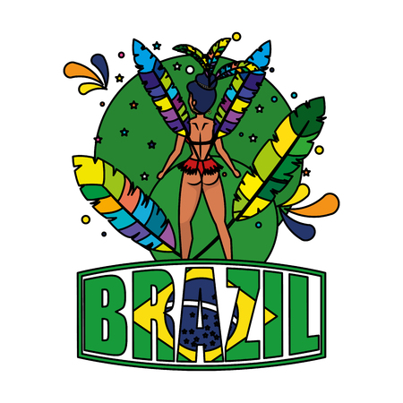beautiful brazilian garota with brazil label vector illustration design