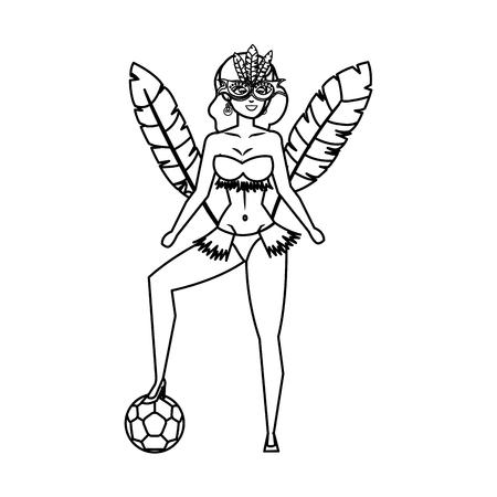 beautiful brazilian garota with soccer balloon vector illustration design Ilustração