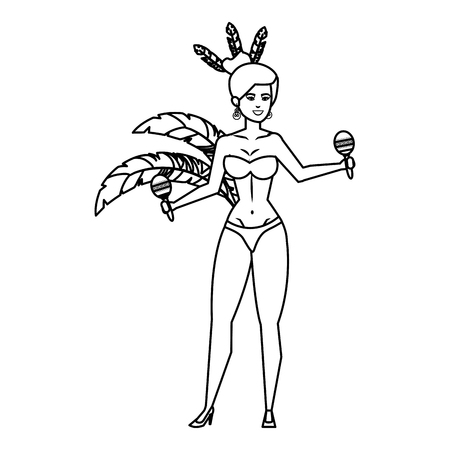 beautiful brazilian garota playing maracas vector illustration design