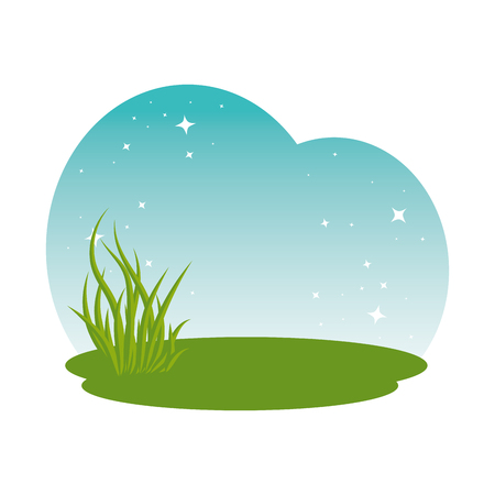 meadow grass landscape scene vector illustration design