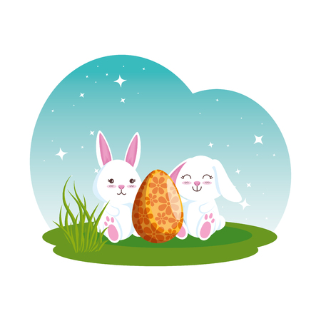 cute rabbits couple with easter egg painted vector illustration design Illustration