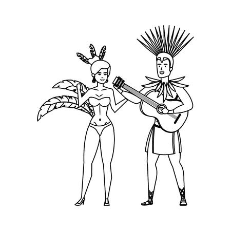 brazilian dancers couple with guitar vector illustration design