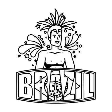 brazilian male dancer with brazil label vector illustration design Foto de archivo - 116284186