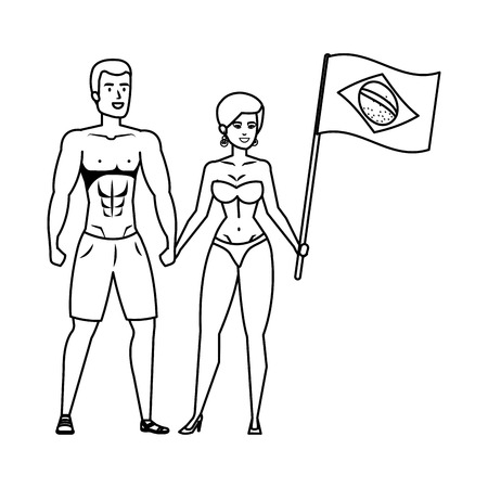 couple with swimsuit waving brazilian flag vector illustration design
