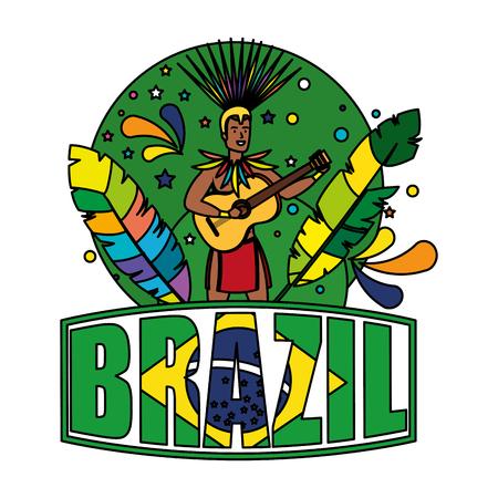 brazilian male dancer with brazil label vector illustration design Foto de archivo - 116284200
