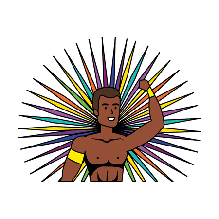 brazilian male dancer character vector illustration design 向量圖像
