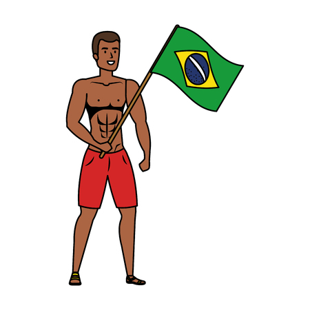 young athletic black man waving brazil flag vector illustration design Illusztráció
