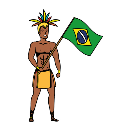 brazilian male dancer waving flag vector illustration design Foto de archivo - 125700529