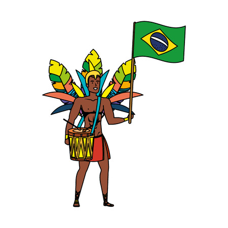 brazilian male dancer playing drum with flag vector illustration design