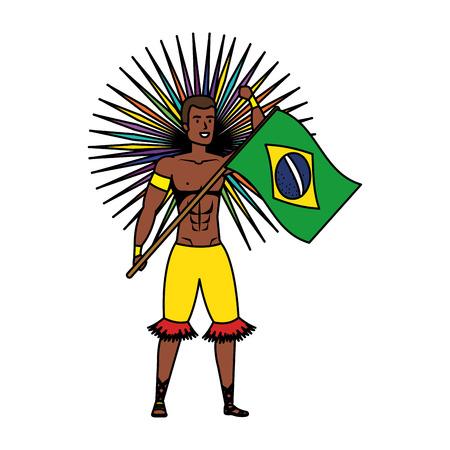 brazilian male dancer waving flag vector illustration design Foto de archivo - 125700534