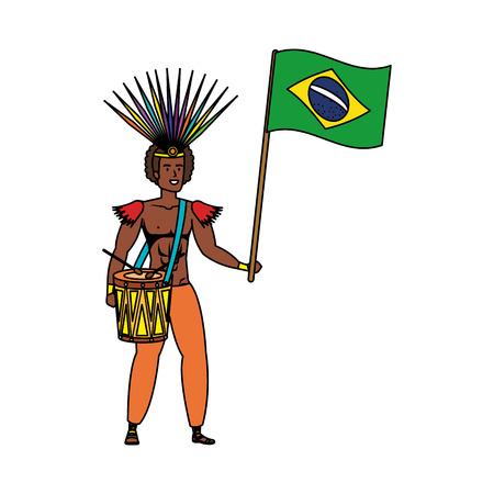brazilian male dancer playing drum with flag vector illustration design Vetores