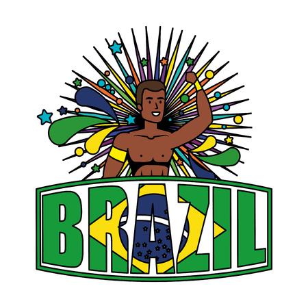 brazilian male dancer with brazil label vector illustration design Foto de archivo - 116284214