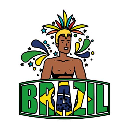 brazilian male dancer with brazil label vector illustration design