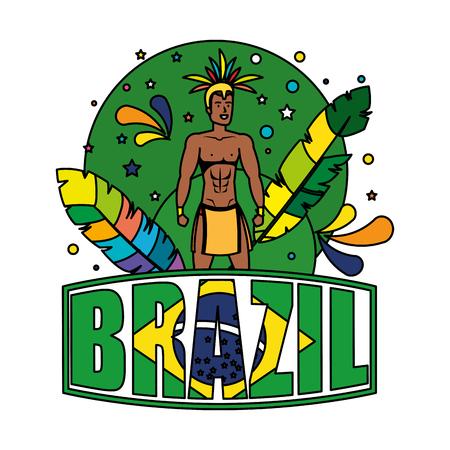 brazilian male dancer with brazil label vector illustration design Foto de archivo - 116284237