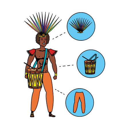 brazilian male dancer with accessories infographic vector illustration