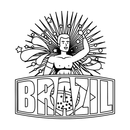 brazilian male dancer with brazil label vector illustration design Foto de archivo - 116284260