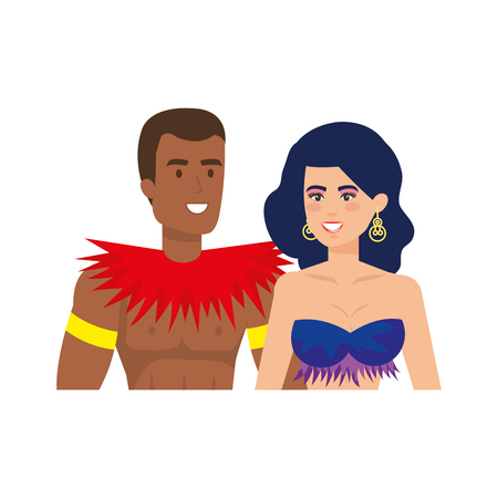 brazilian dancers couple characters vector illustration design