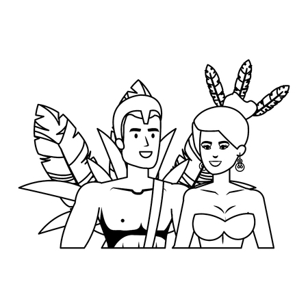 brazilian dancers couple characters vector illustration design