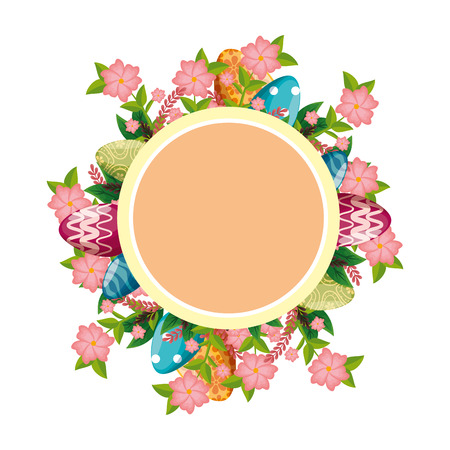 circular frame with flowers and leafs vector illustration design