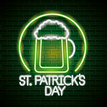 glass beer st patricks day neon vector illustration Ilustrace