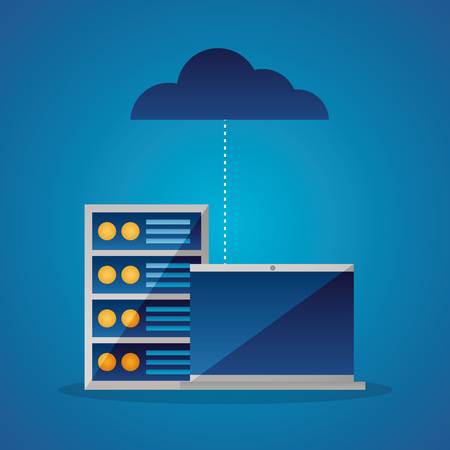 cloud computing data base connection vector illustration