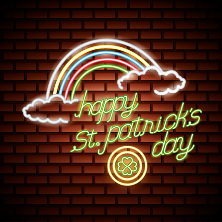 rainbow coin clover st patricks day neon vector illustration