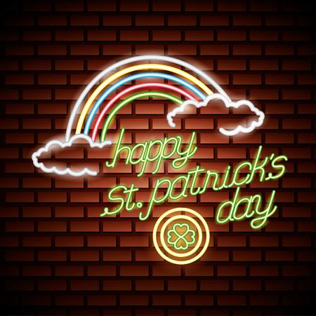 rainbow coin clover st patricks day neon vector illustration