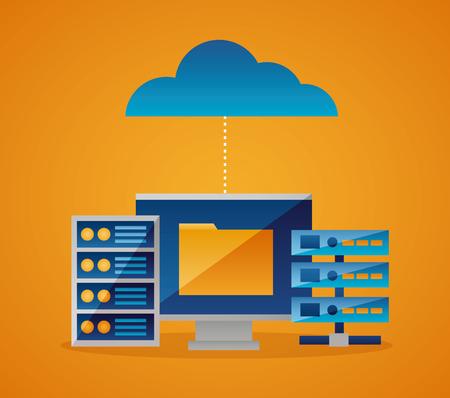illustrazione vettoriale della base di dati della cartella di connessione del cloud computing
