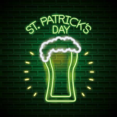 beer foam st patricks day neon vector illustration