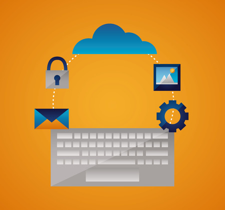 cloud computing keyboard padlock photo gear vector illustration