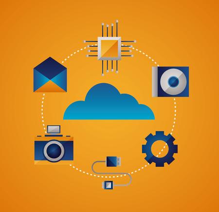camera gear disk connection cloud computing vector illustration
