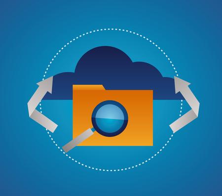 cloud folder magnifying glass connection vector illustration Stock Illustratie