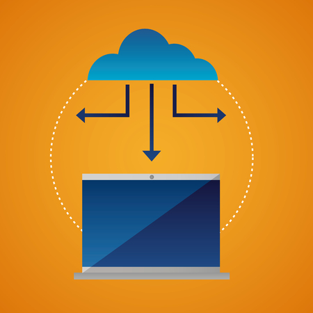 cloud computing protection connection base vector illustration