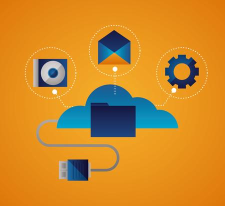cloud usb cable camera gear message vector illustration