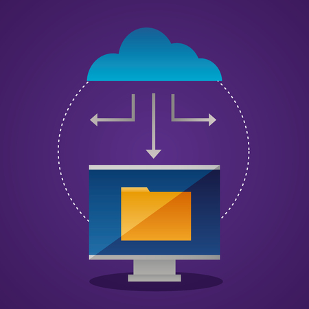 cloud computing screen folder connection vector illustration