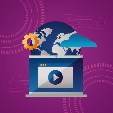 cloud computing video screen gear world vector illustration