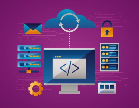 cloud computing data base padlock document vector illustration