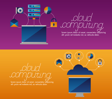 banner camera data base message cloud computing vector illustration