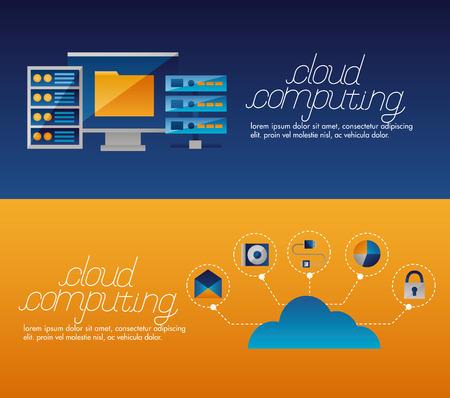 cloud computing banner tools data base vector illustration