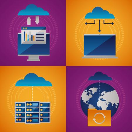banner cloud computing data base connection vector illustration