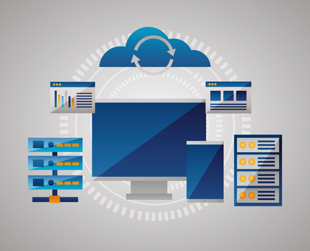 smartphone data base documents cloud computing vector illustration Stock Vector - 125647485