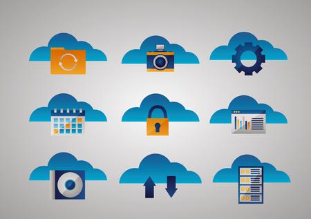 clouds tools padlock gear data base disk folder vector illustration