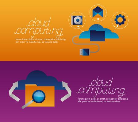 banner folder tools cloud computing vector illustration Illustration