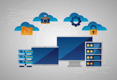 clouds tools computing data base vector illustration Stock Vector - 125647494