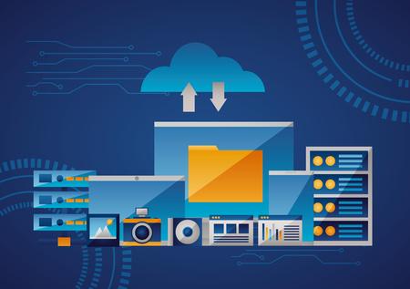 cloud computing folder information data base vector illustration Stock Vector - 125647495