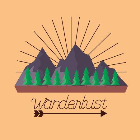 wanderlust mountains pine trees background vector illustration Ilustrace