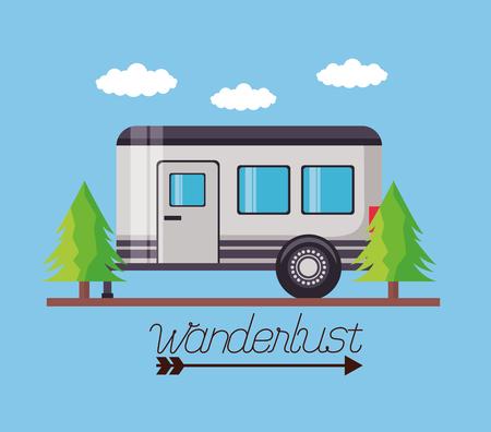 wanderlust outdoor trailer pine trees landscape vector illustration
