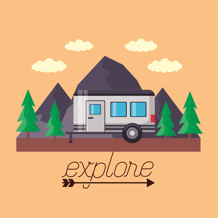 wanderlust trailer pine trees mountains landscape vector illustration