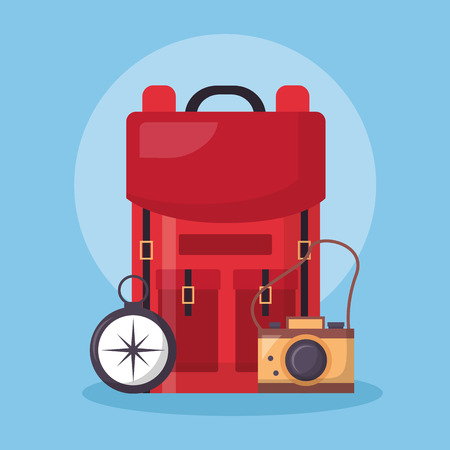 wanderlust red bag compass and camera vector illustration