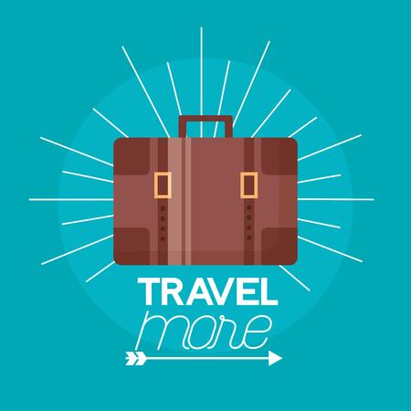 travel more briefcase sticker background vector illustration  イラスト・ベクター素材